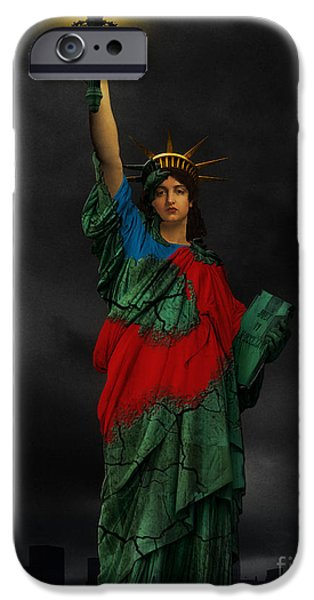 Goddess Of Liberty iPhone Cases - Liberty iPhone Case by Creative Sunny
