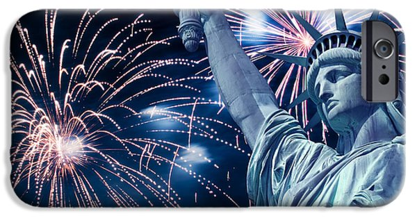4th July Photographs iPhone Cases - Liberty fireworks iPhone Case by Delphimages Photo Creations