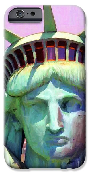 Fourth Of July iPhone Cases - Liberty Head Painterly 20130618 iPhone Case by Wingsdomain Art and Photography