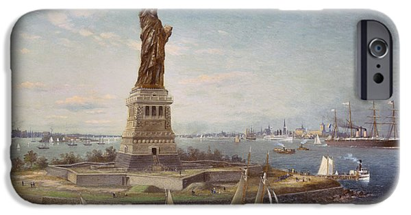 Boat iPhone Cases - Liberty Island New York Harbor iPhone Case by Fred Pansing