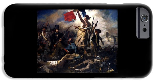 July Paintings iPhone Cases - Liberty Leading The People During The French Revolution iPhone Case by War Is Hell Store