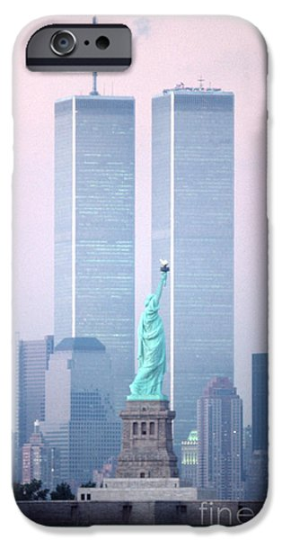 Twin Towers Nyc iPhone Cases - Liberty Memories iPhone Case by Christopher Boswell