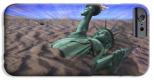 Pop Surrealism Digital iPhone Cases - Liberty Park iPhone Case by Mike McGlothlen