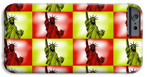 July 4th Digital Art iPhone Cases - Liberty Pop Art iPhone Case by Az Jackson