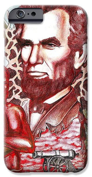 Old Glory Drawings iPhone Cases - Liberty Red iPhone Case by Jamie Jonas