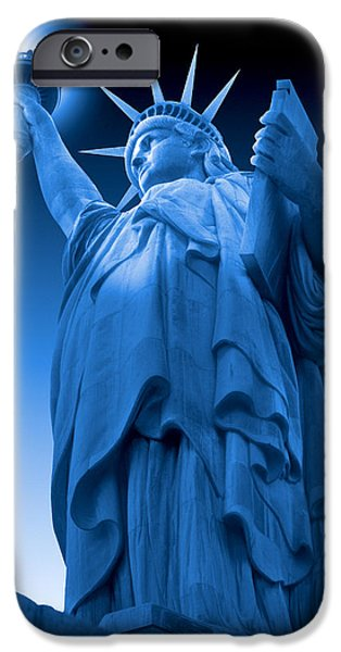 Landmark Digital iPhone Cases - Liberty Shines On in Blue iPhone Case by Mike McGlothlen