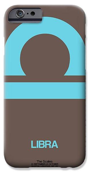 Aquarius iPhone Cases - Libra Zodiac Sign Blue iPhone Case by Naxart Studio