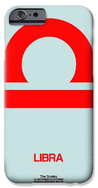 Aquarius iPhone Cases - Libra Zodiac Sign Red iPhone Case by Naxart Studio