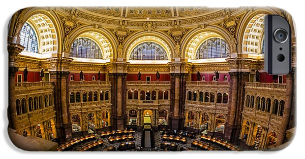 D.c. iPhone Cases - Library Of Congress Main Reading Room iPhone Case by Susan Candelario