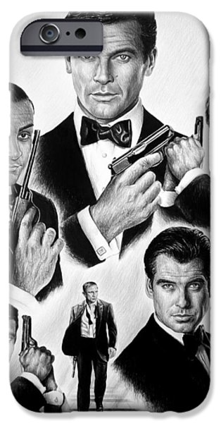 Celebrities Art Drawings iPhone Cases - Licence to kill  bw iPhone Case by Andrew Read