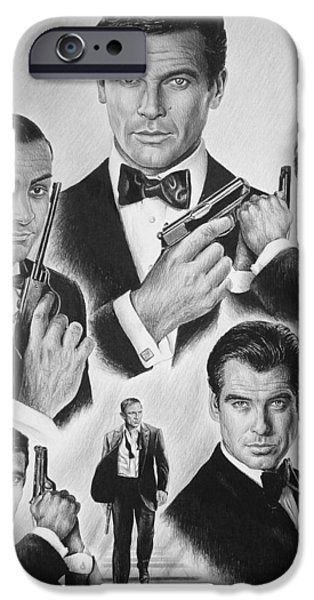 Movie Star Drawings iPhone Cases - Licenced to kill  bw iPhone Case by Andrew Read