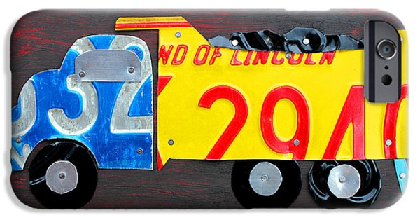 Child Mixed Media iPhone Cases - License Plate Art Dump Truck iPhone Case by Design Turnpike