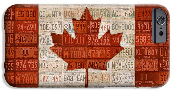 Flag iPhone Cases - License Plate Art Flag of Canada iPhone Case by Design Turnpike