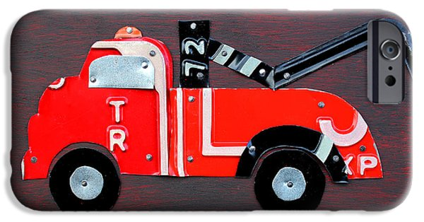 Tow Truck iPhone Cases - License Plate Art Tow Truck iPhone Case by Design Turnpike