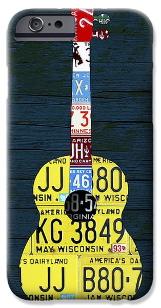 Minnesota iPhone Cases - License Plate Guitar Edition 2 Vintage Recycled Metal Art On Wood iPhone Case by Design Turnpike