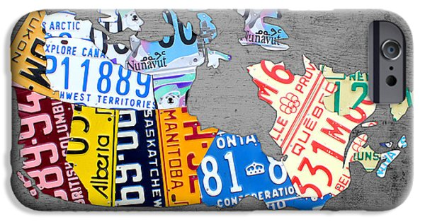 Province iPhone Cases - License Plate Map of Canada on Gray iPhone Case by Design Turnpike