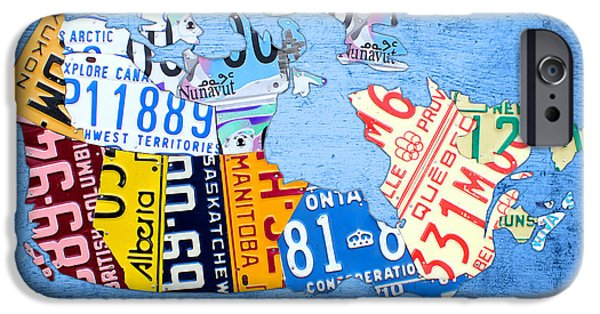 Canadian Map iPhone Cases - License Plate Map of Canada on Sky Blue iPhone Case by Design Turnpike