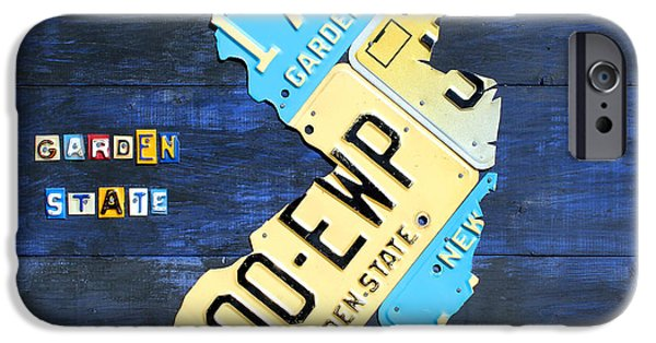 New Jersey iPhone Cases - License Plate Map of New Jersey v2 by Design Turnpike iPhone Case by Design Turnpike