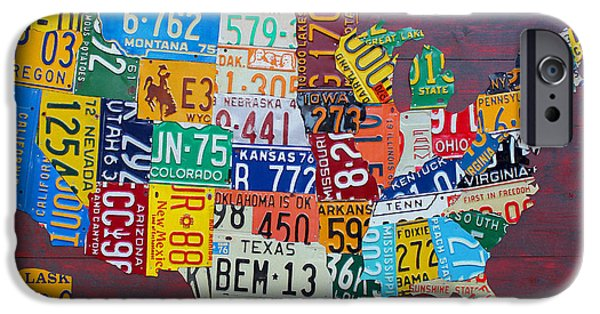 Cities Mixed Media iPhone Cases - License Plate Map of The United States iPhone Case by Design Turnpike