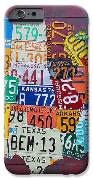 License Plate Map of The United States iPhone Case by Design Turnpike