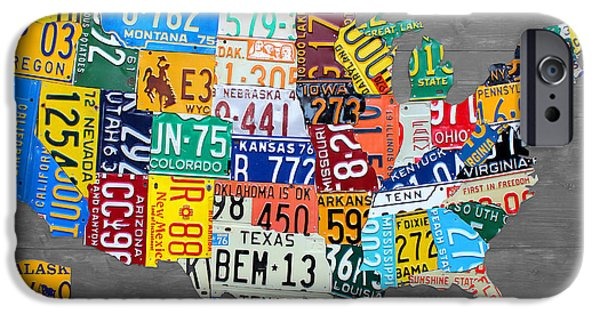 Highway iPhone Cases - License Plate Map of The United States on Gray Wood Boards iPhone Case by Design Turnpike