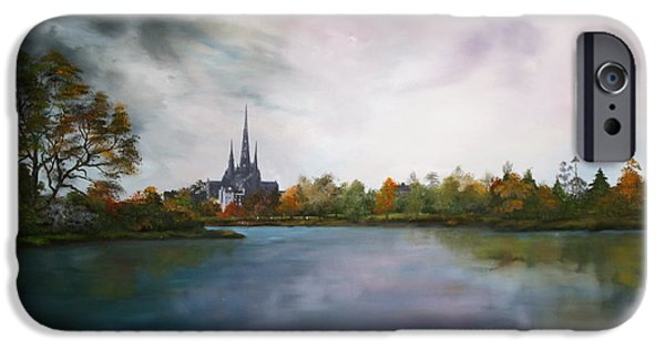 Bob Ross Paintings iPhone Cases - Lichfield Catherdral a view from Stowe Pool iPhone Case by Jean Walker