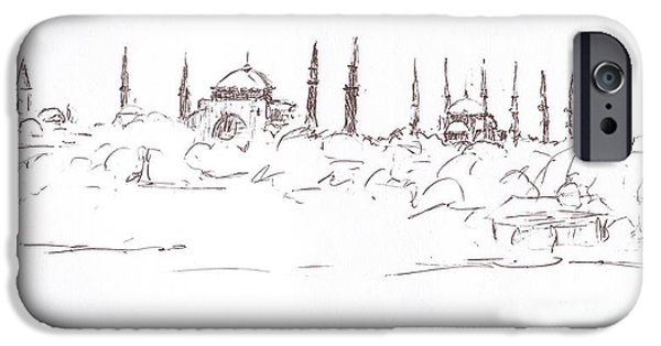 Abstract Beach Landscape Drawings iPhone Cases - Lido view Serenity Blue Mosque iPhone Case by Valerie Freeman