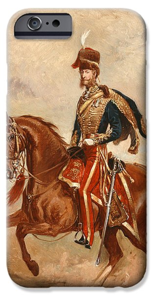 Animal Cards iPhone Cases - Lieutenant Colonel James Thomas Brudenell  iPhone Case by Alfred de Prades