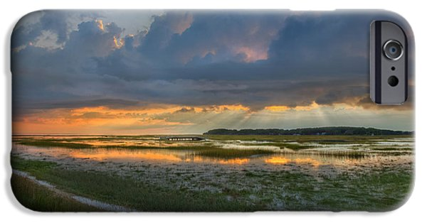 Cape Cod iPhone Cases - Lieutenant Island Sunset iPhone Case by Bill  Wakeley