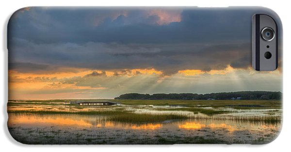 Cape Cod Landscapes iPhone Cases - Lieutenant Island Sunset Square iPhone Case by Bill  Wakeley