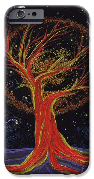 Mystical Landscape Mixed Media iPhone Cases - Life Blood Tree by jrr iPhone Case by First Star Art