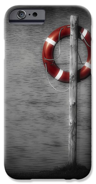 Selective Color iPhone Cases - Life Buoy iPhone Case by Wim Lanclus