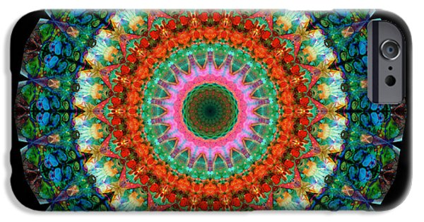 Fractal Paintings iPhone Cases - Life Joy - Mandala Art By Sharon Cummings iPhone Case by Sharon Cummings