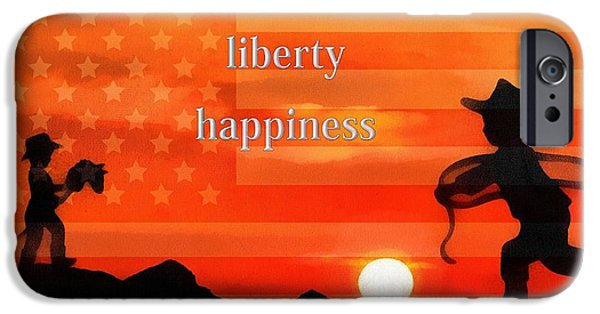 Innocence Mixed Media iPhone Cases - Life Liberty Happiness iPhone Case by Dan Sproul