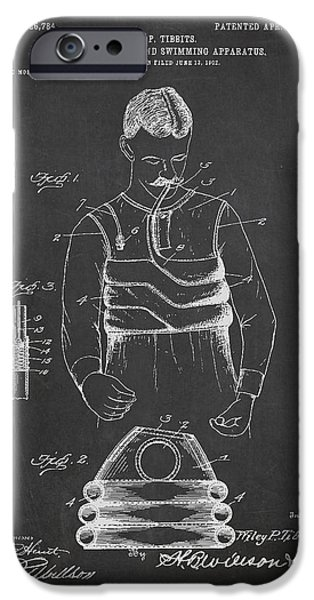 Swimming iPhone Cases - Life Preserver and Swimming Apparatus Patent Drawing From 1903 iPhone Case by Aged Pixel