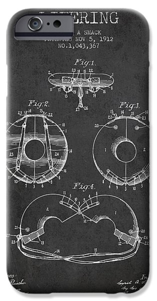 Donuts iPhone Cases - Life Ring Patent from 1912 - Charcoal iPhone Case by Aged Pixel