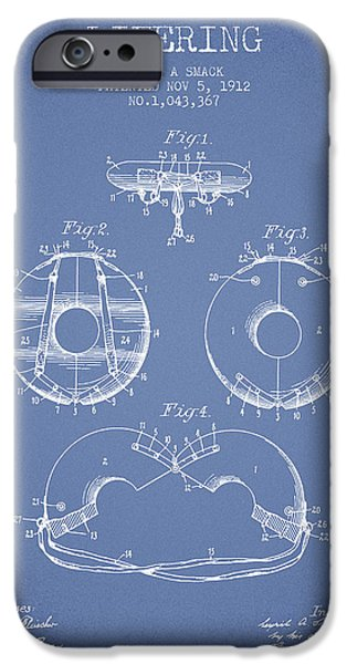 Donuts iPhone Cases - Life Ring Patent from 1912 - Light Blue iPhone Case by Aged Pixel