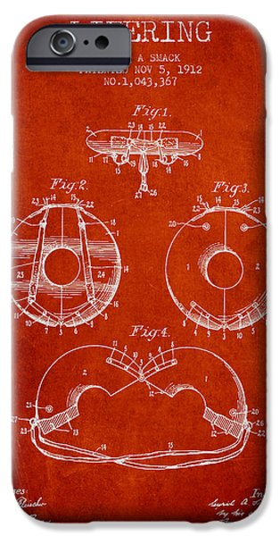 Donuts iPhone Cases - Life Ring Patent from 1912 - Red iPhone Case by Aged Pixel