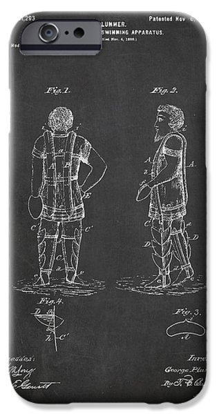 Swimming iPhone Cases - Life Saving and Swimming Apparatus Patent Drawing From 1900 iPhone Case by Aged Pixel