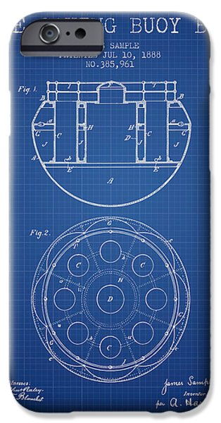 Donuts iPhone Cases - Life Saving Buoy Boat Patent from 1888 - Blueprint iPhone Case by Aged Pixel