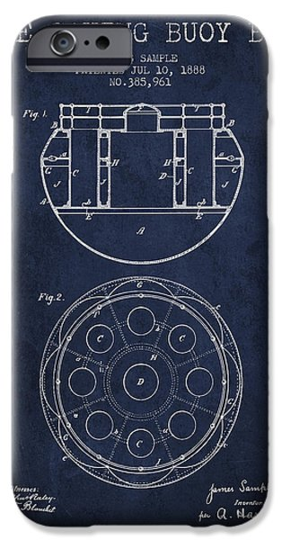 Donuts iPhone Cases - Life Saving Buoy Boat Patent from 1888 - Navy Blue iPhone Case by Aged Pixel