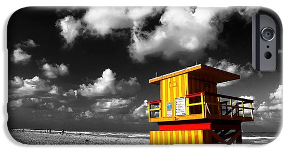 Selective Coloring Art iPhone Cases - Lifeguard Fusion iPhone Case by John Rizzuto