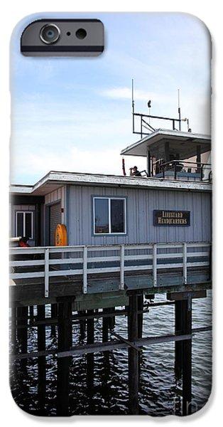 Santa Cruz Wharf iPhone Cases - Lifeguard Headquarters On The Municipal Wharf At Santa Cruz Beach Boardwalk California 5D23827 iPhone Case by Wingsdomain Art and Photography