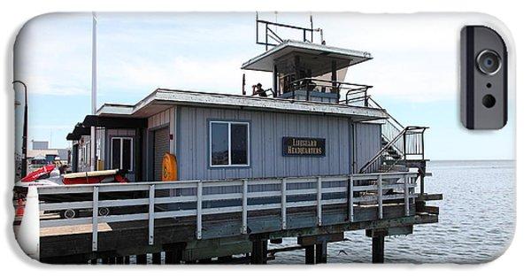 Santa Cruz Wharf iPhone Cases - Lifeguard Headquarters On The Municipal Wharf At Santa Cruz Beach Boardwalk California 5D23828 iPhone Case by Wingsdomain Art and Photography