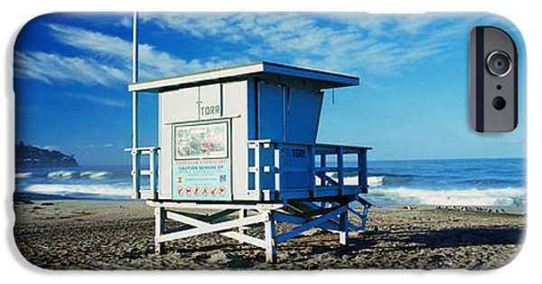Built Structure iPhone Cases - Lifeguard Hut On The Beach, Torrance iPhone Case by Panoramic Images