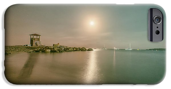 Sea Moon Full Moon iPhone Cases - Lifeguard Post iPhone Case by Stylianos Kleanthous