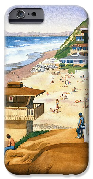 Moonlight iPhone Cases - Lifeguard Station at Moonlight Beach iPhone Case by Mary Helmreich