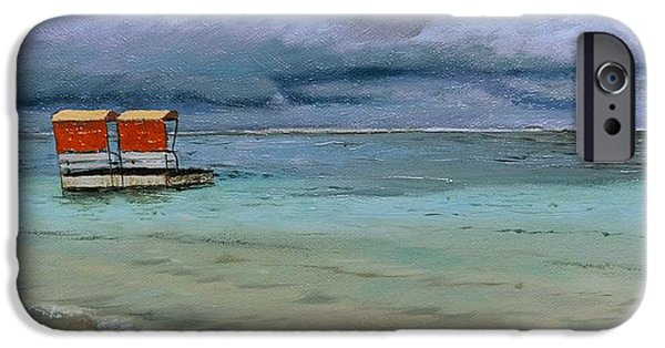 Sea iPhone Cases - Lifeguard Station, Mauritius, 2008 Oil On Canvas iPhone Case by Trevor Neal