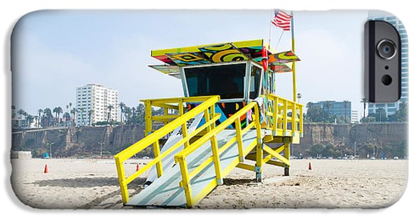 Santa iPhone Cases - Lifeguard Station On The Beach, Santa iPhone Case by Panoramic Images