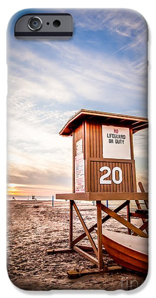 Morning iPhone Cases - Lifeguard Tower 20 Newport Beach CA Picture iPhone Case by Paul Velgos